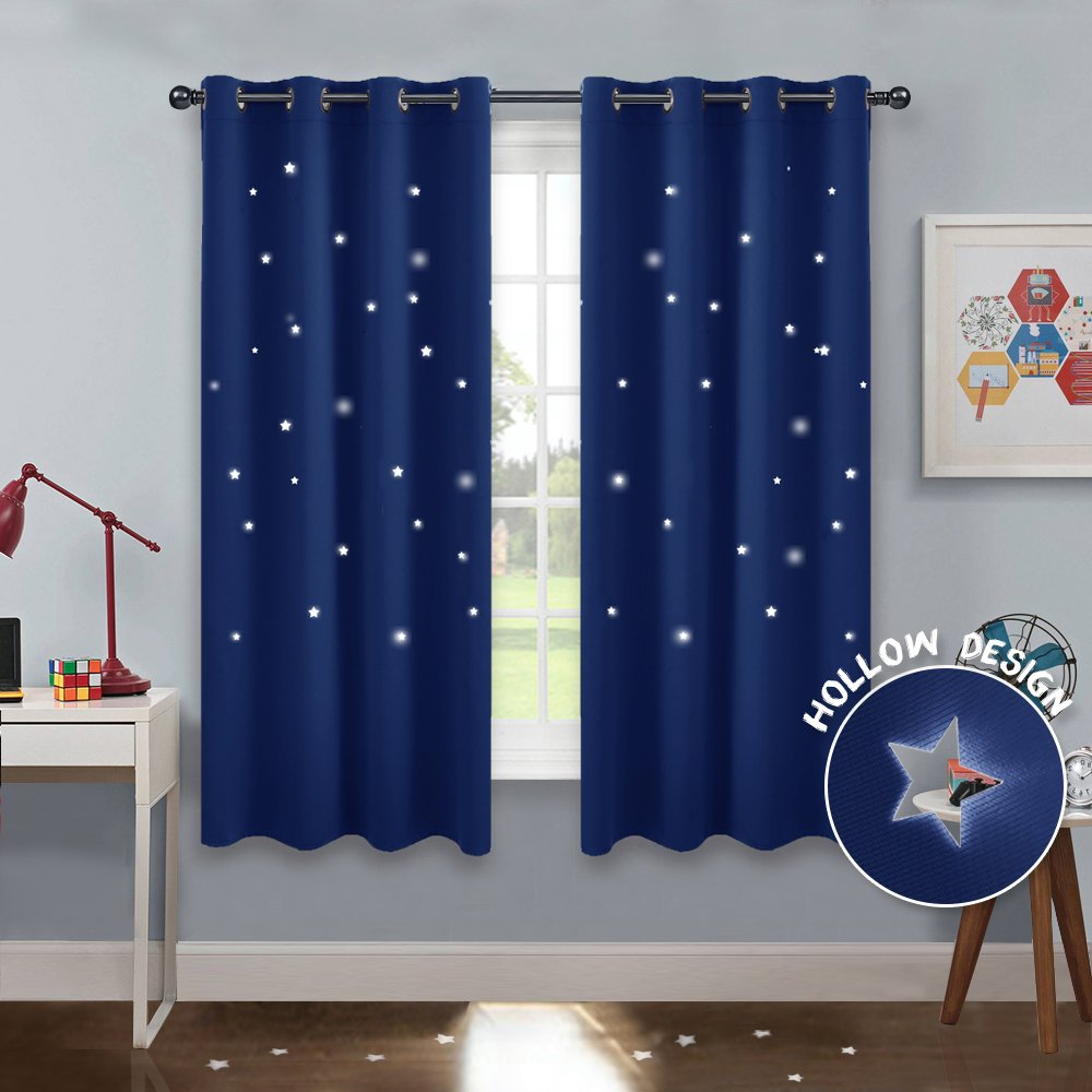 amazon com pony dance navy stars curtains home decoration roompony dance navy stars curtains home decoration room darkening die cut star blackout curtain magical drapes with grommet top for kids and nursery rooms,