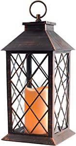 14'' Copper Brushed Vintage Candle Lantern with Flickering Flameless Led Plastic Lantern Metallic Coating 4 Hours Timer,Battery included Indoor&Outdoor Hanging Lantern-Decorative lantern holder..