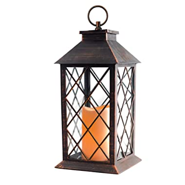 14'' Candle Lantern with Flickering Flameless Led Candle (Battery Included,Copper Brushed,4 Hour Timer) Outdoor&Indoor Hanging Lantern-Decorative Candle Lantern