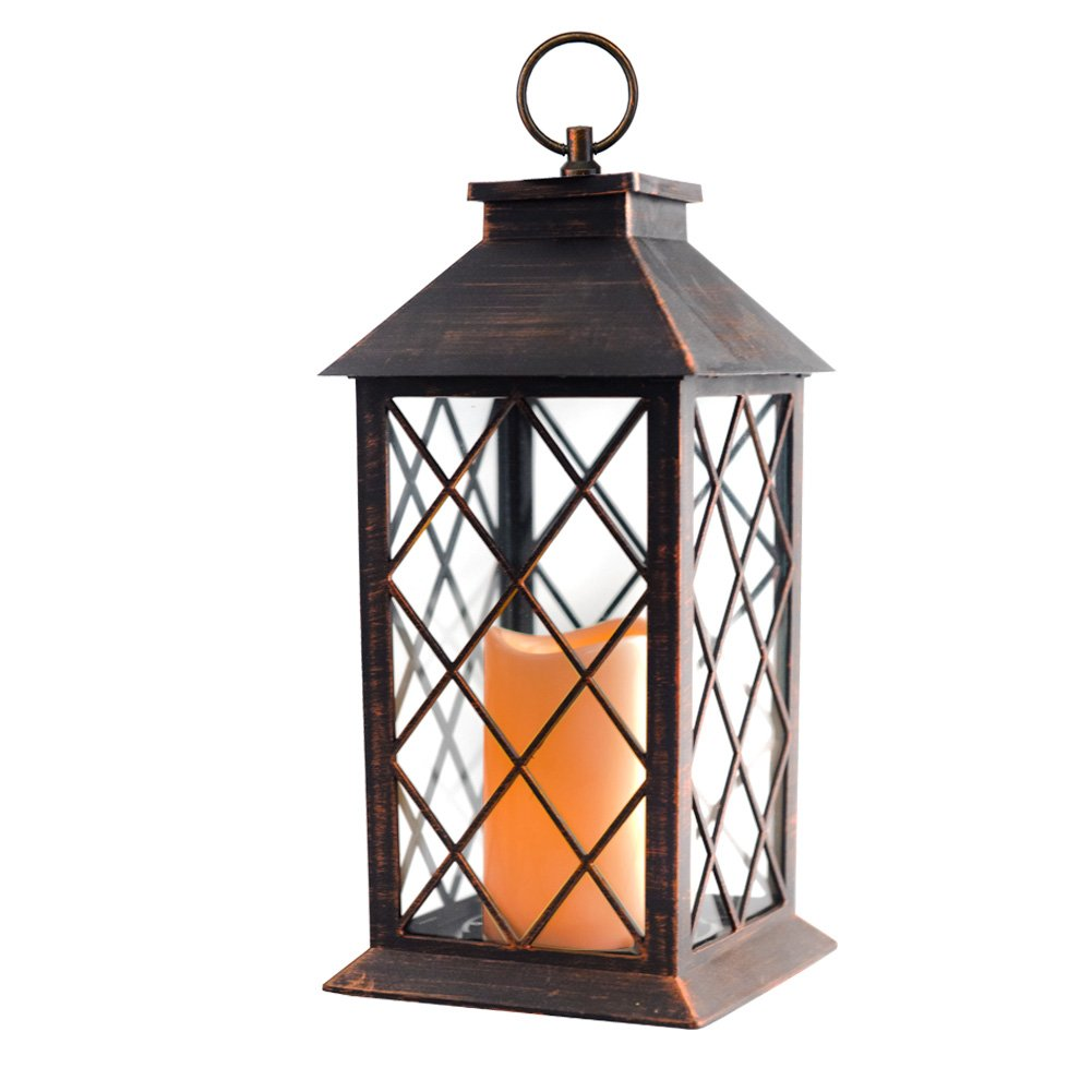 14'' Candle Lantern with Flickering Flameless Led Candle (Battery Included,Copper Brushed,4 Hour Timer) Outdoor&Indoor Hanging Lantern-Decorative Candle Lantern by Evermore Light