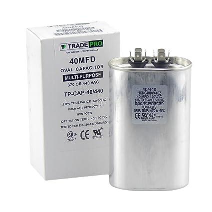TradePro Condensador de 40 mfd, Repuesto de Grado Industrial para Aire Acondicionado Central, Bombas