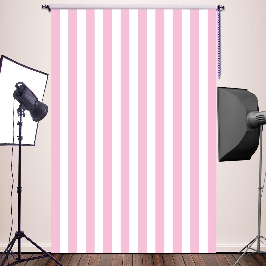 HUAYI Pink White Stripe Background Silk Photography Backdrops Newborn Photo Studio Photo Props 5x7ft YJ-234