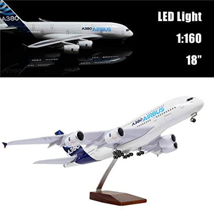"""24-Hours 18"""" 1:160 Scale Airplane Kit A380 Model Plane Collection with LED  Light(Touch or Sound Control) for Decoration or Gift"""