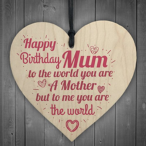 JamieFox Happy Birthday Mum Wooden Heart Mummy Funny Special Card Baby Son Daughter Love Gift ()