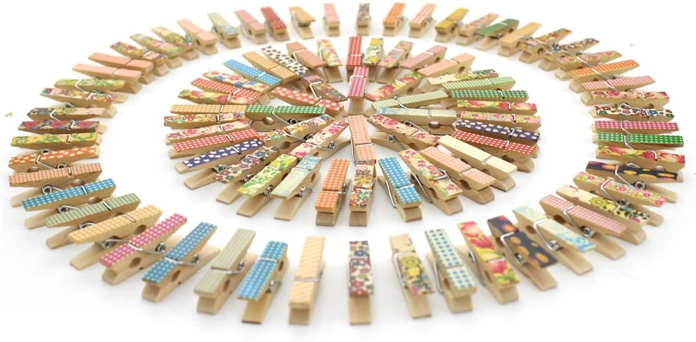 100pcs Z Zicome Mini Colorful Natural Wooden Photo Paper Peg Pin Clothespin Craft Clips