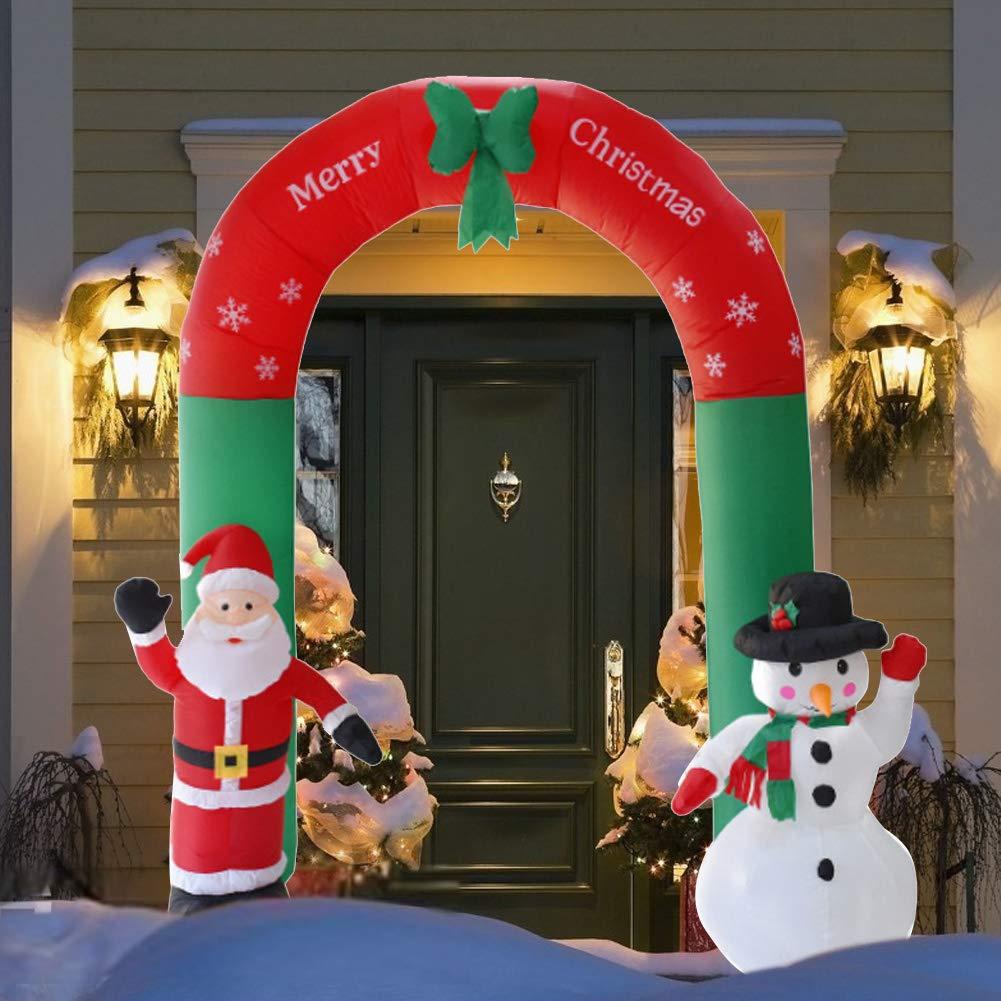 heummyo Christmas Archway Arco Inflable Santa Claus Muñeco de Nieve Adornos de Navidad Año Nuevo Decoración al Aire Libre 2.4m/7.87ft