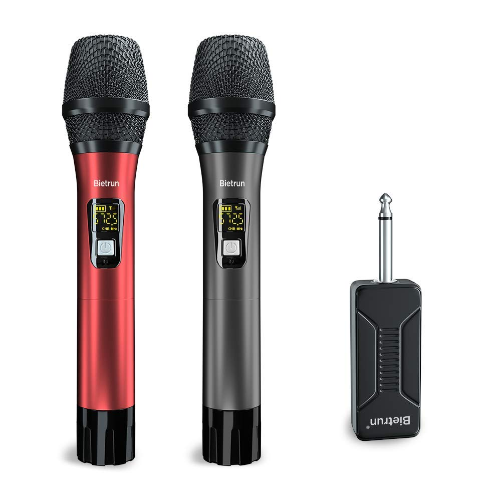 Wireless Microphone Karaoke, UHF Wireless Adult Microphones System Set with Rechargeable Receiver, 260 ft(80M) Range, 6.35&3.5mm Port, for Voice Amplifier, PA System, Singing, Family Karaoke