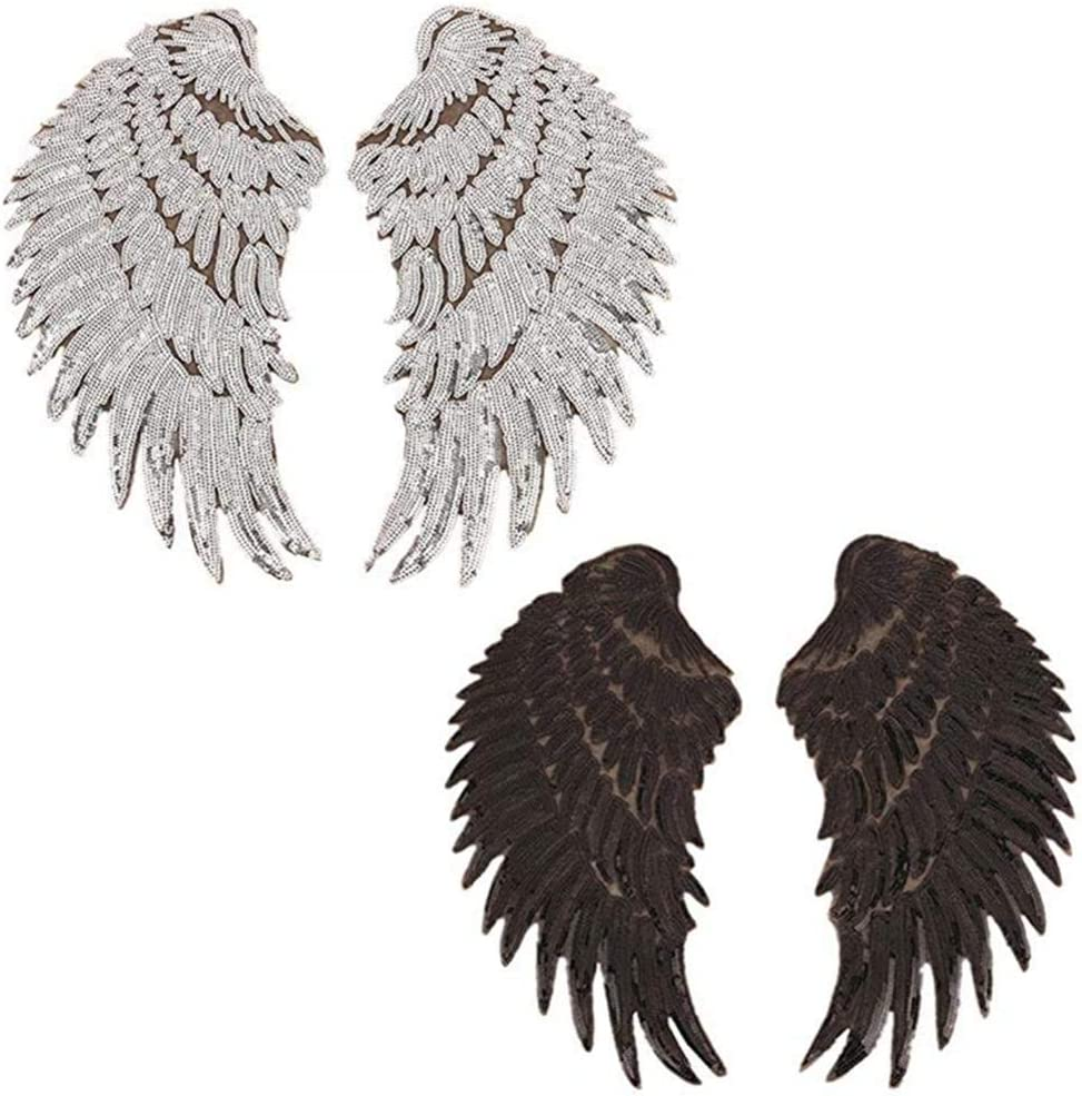 New Item 10 34\u201d Large 2pc Pair of Sequin Blue Angel Wings Iron on Fashion Embroidered Patch DIY Appliqu\u00e9  Backpack Jacket Kids