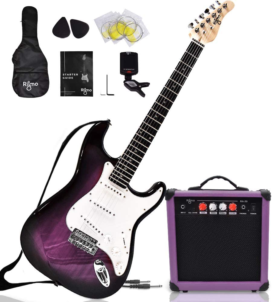 Complete 39 Inch Guitar and Amp Bundle Kit for Beginners-Starter Set Includes 6 String Tremolo Guitar, 20W Amplifier with Distortion, 2 Picks, Shoulder Strap, Tuner, Bag Case - Right-Handed Purple