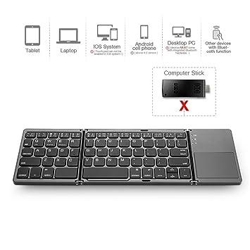 Aorowa Teclado Bluetooth Plegable con Touchpad,Teclado Inalámbrico Portátil para Portatil Tablet Samsung Smartphone BT