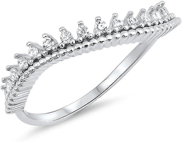 CloseoutWarehouse Cubic Zirconia Teardrop Designer Ring Sterling Silver