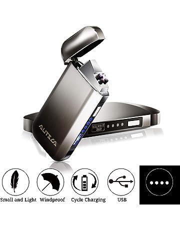 AUTSCA Mechero Eléctrico, Encendedor USB Doble Arco Eléctrico con luz LED Azul, Carga Rápida
