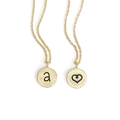 681f18626 Amazon.com: KISSPAT Tiny Initial Necklace Gold Personalized Letter Pendant  Heart Choker Double Side Fashion Jewelry for Women Girls Kids: Jewelry