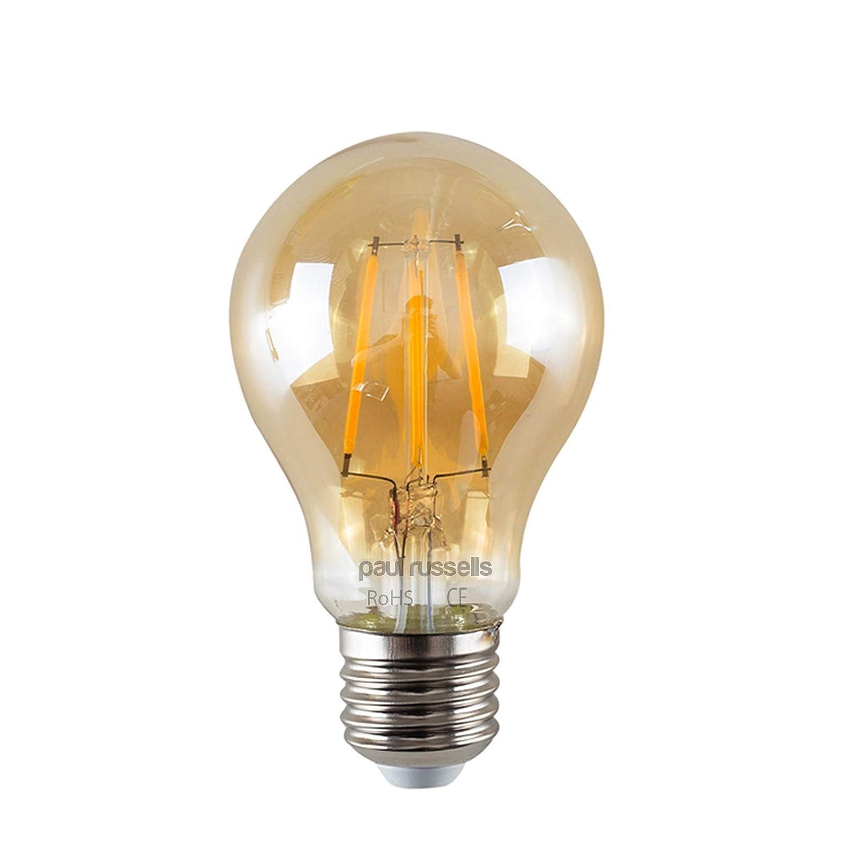6 x Russel Paul Vintage Stil Edison Schraube LED-Leuchtmittel 8 W GLS Antik Globe A60 Licht Dekorieren Home 360 Beam Lampe E27 ES 2200 K warmweiß 80 W Glühlampe Ersatz [6 Stück Leuchtmittel]