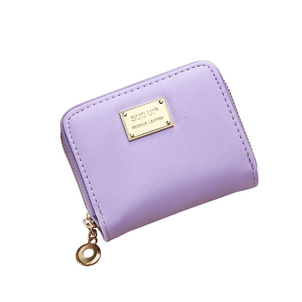 Tinksky Klein Portemonnaie mit Reißverschluss Damen Kleine Geldbeutel PU Leder Brieftasche für Frauen Mädchen (Grün)