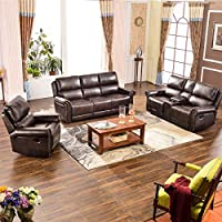 Harper & Bright Designs Sectional Recliner Sofa Set (Brown) (Chair & Loveseat & 3_Seat Recliner)