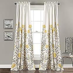 "Lush Decor Aprile Room Darkening Window Curtain Panel Set, 84"" x 52"" + 2"", Yellow/Gray"