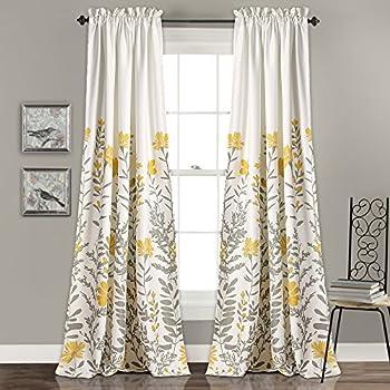 Lush Decor Aprile Room Darkening Window Curtain Panel Set 84 X 52 2 Yellow Gray