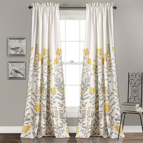 Lush Decor Aprile Room Darkening Curtains Floral Leaf Design Window Panel Drapes Set for Living, Dining, Bedroom (Pair), 84