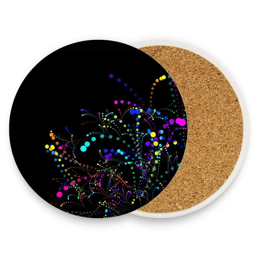 Suitable for Kinds of Mugs and Cups,1 Pack Colorful Stars Orange Pattern Drink Coasters,Absorbent Stone Coasters with Cork Base