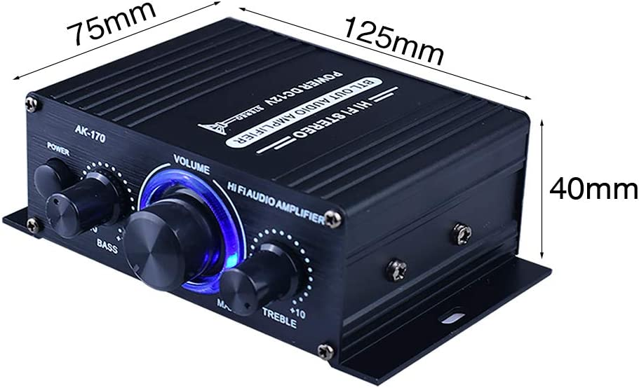 KOET HiFi Stereo Amplifier Mini 2 Channel Audio Power Amplifier Low Distortion Audio Integrated Amp w//LED Lights for Car Home Speakers