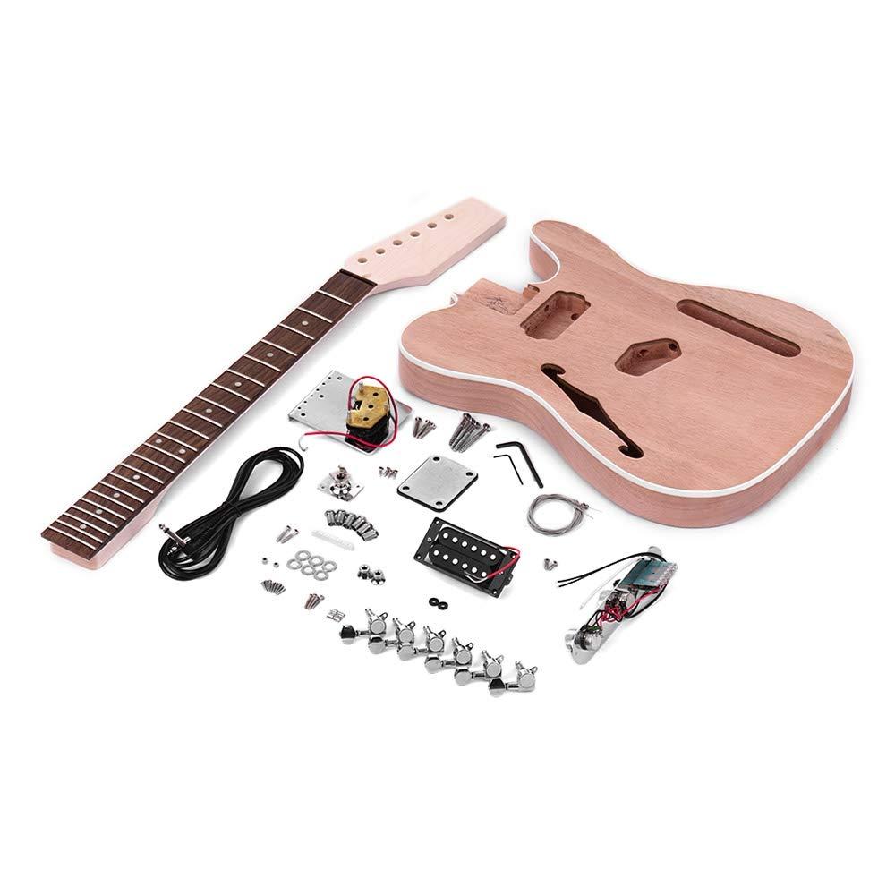 ZGHNAK Unvollendete E-Gitarre DIY Kit Mahagoni Korpus mit F Schallloch Ahorn Holz Hals Palisander Griffbrett