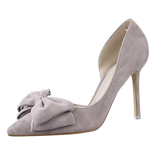 fd7b78892aeb83 Chaussures Talons Aiguille, Escarpins Hauts Pointus Sandales Nœuds Élégants Femme  Escarpin Gris 34