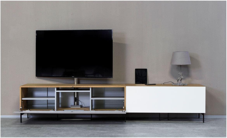 KITOON TV-Lowboard Nr.6 (B 266 cm), Fußgestell, Nuß geölt (Echtholzfurnier)