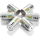 EBL Rechargeable C Batteries 5000mAh HomeBasic Battery C Size Cell with Box, Pack of 6