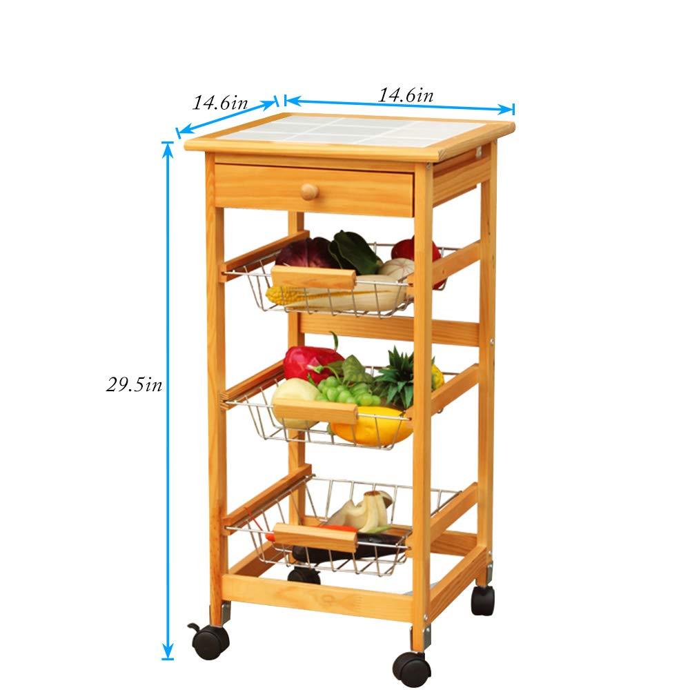 DHY-3086 DlandHome Kitchen Cart Stand 3-Tier Storage Basket /& 1-Drawer Unit On Wheels Utility Cart Baker/'s Rack for Kitchen