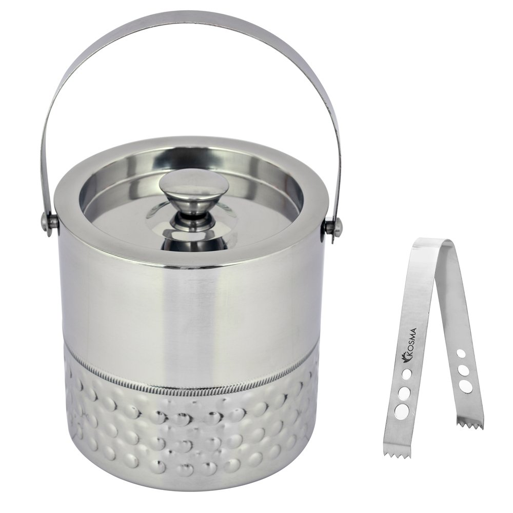 Kosma Double Wall Stainless Steel Ice bucket and Ice Tongs, 15 x 18cm – Ice Cube Bucket with Bubble Finish
