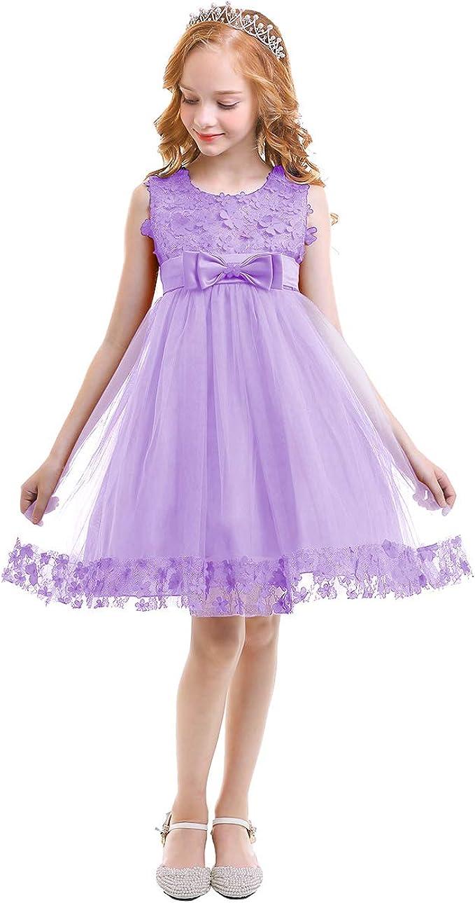 IWEMEK Mädchen Kinder Mit Kleider Blumenmädchenkleider Hochzeitskleid  Festlich Brautjungfern Kleid Prinzessin Hochzeit Abendkleid Party Kurzes  Kleid