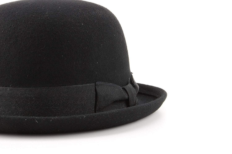 a36d12b8176d09 Black Wool felt bowler Derby hat: Amazon.co.uk: Clothing