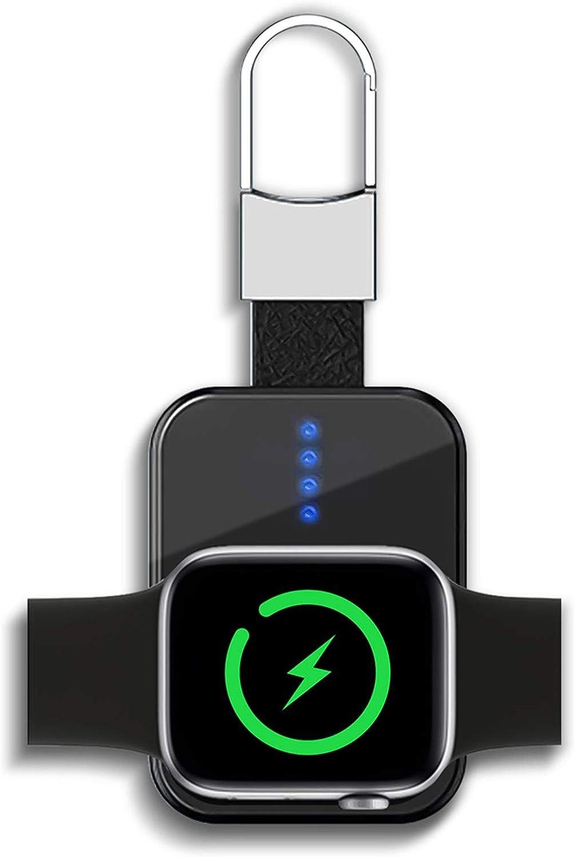 LucBuy Cargador Inalámbrico Portátil para Apple Watch Series SE/6/5/4/3/2/1 y 44 mm/42 mm/40 mm/38 mm, 1000/950 mAh Banco de Energía Magnético de Bolsillo,Llavero Reloj Carga Rápida Inalámbrica