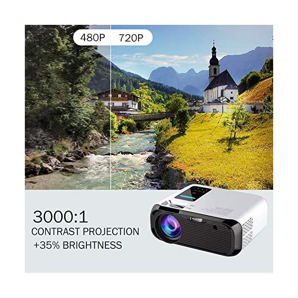 E500-Basic, White PTVdisplay Projector Mini LED Video Projector 150ANSI Lumens Supporting 1080P LCD Home Theater Cinema Projector 40000 Hours LED Life Compatible with HDMI//USB//TF Card//VGA//AV