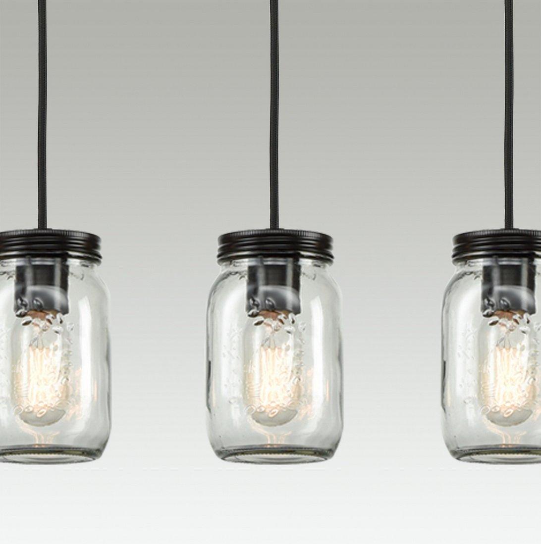 Mason Jar Chandelier: EUL Mason Jar Light Fixture 5-Light Linear Chandelier