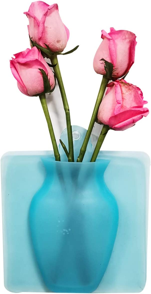 AOSMAN Removable Silicone Vase,Self-Adhesive Wall Planter Vase for Party, Exhibition,Wedding,Festival,Home Kitchen Decoration,Blue