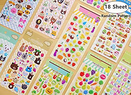 18 Sheet 3D Toddlers Puffy Stickers Magnolora Scrapbooking Bullet Journals For Girl Boy Birthday