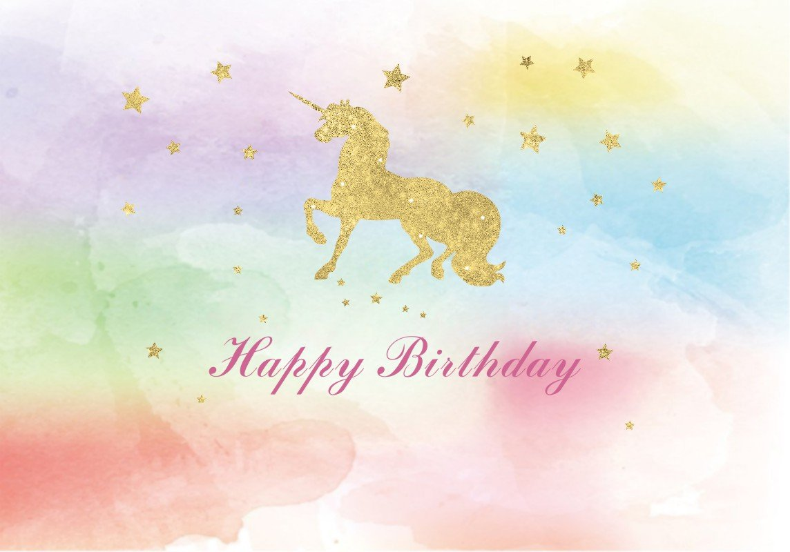 7x5ft watercolor colorful unicorn banner gold golden Glitter glamour Sparkle stars High-grade portrait cloth Computer printed backdrop newborn baby shower background lv-2000