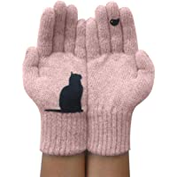 Kat Gedrukte Handschoenen, Winter Warme Thermische Kasjmier Handschoenen, Cartoon Dog Full Finger Gebreide Wanten…