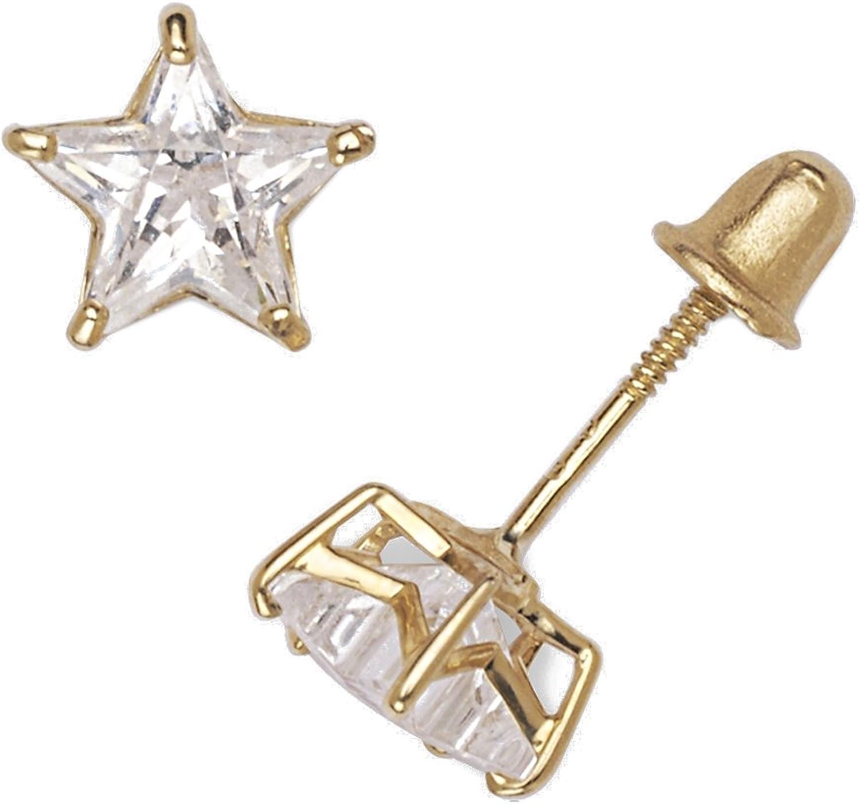 14k Yellow Gold Heart-shaped Cubic Zirconia Screw-back Stud Earrings 4-6mm