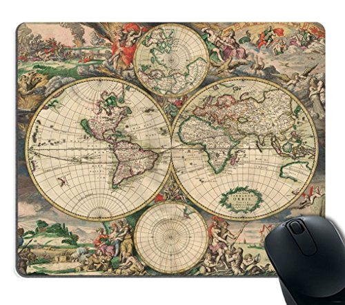 Mouse Pad Art Print Vintage World Map Customized Non-Slip Rubber Mousepad Gaming Mouse Pad