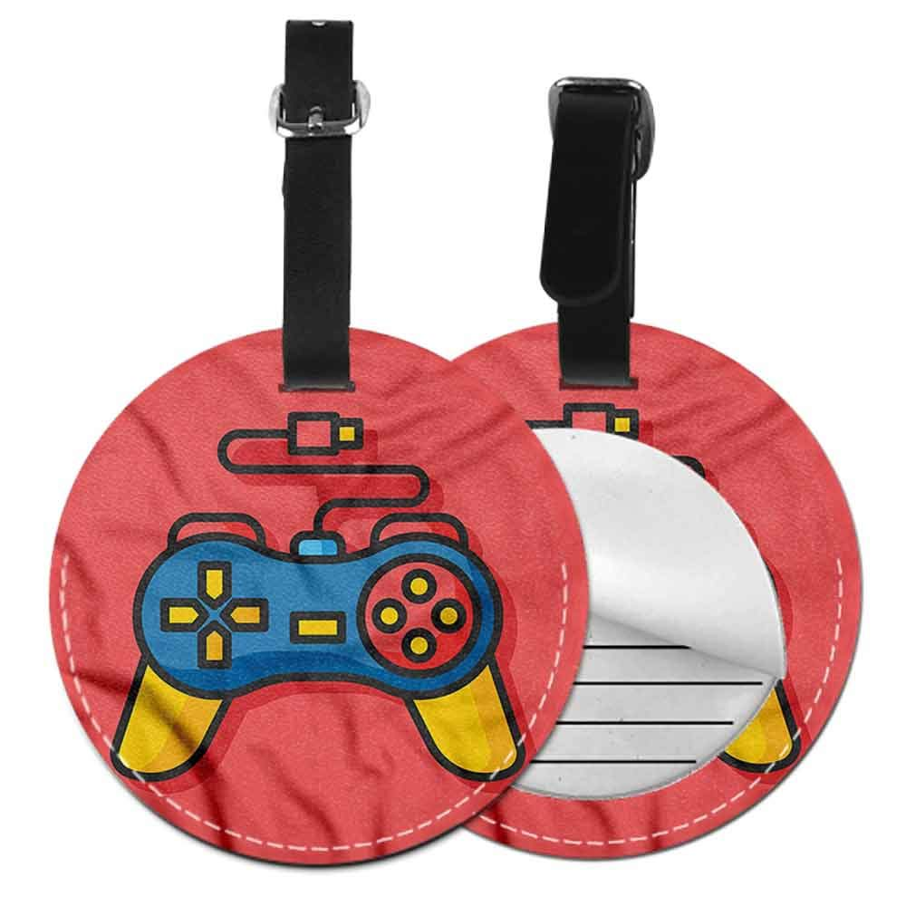 New Suitcase Luggage Tags Gamer,We Love Gaming Phrase Heart Round Luggage Tags