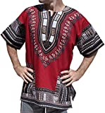 RaanPahMuang Unisex African Bright Dashiki Cotton Shirt Variety Colors, Large, Dark Red Brown