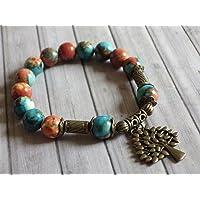 pulsera de perlas vintage estilo tibetano jade blanco natural, teñida de color marrón, naranja y azul, y pendientes en…