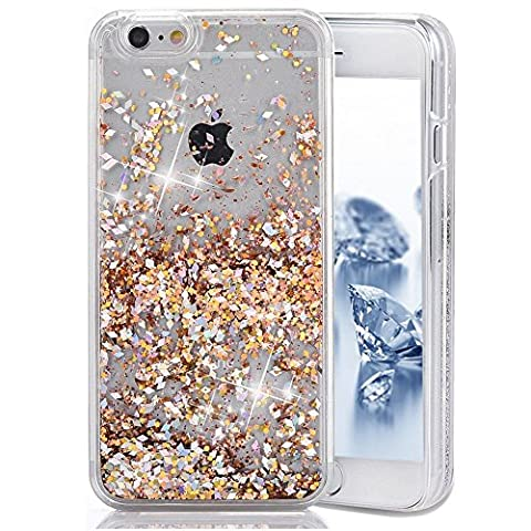 iPhone 5C Case, Liquid Case for iPhone 5C, Surpriseyou 3D Creative Design Shiny Quicksand Moving Bling Glitter Sparkle Diamonds Flowing Clear Hard Case for iPhone 5C (Gold (3d Bling Cases For Iphone 5c)