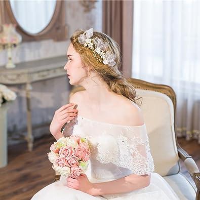 F Fityle Stylistic Wedding Woman Perles De Mari/ée Fleur Tulle Feuilles Pince /À Cheveux Pin Cheveux Vigne Headpieces DIY