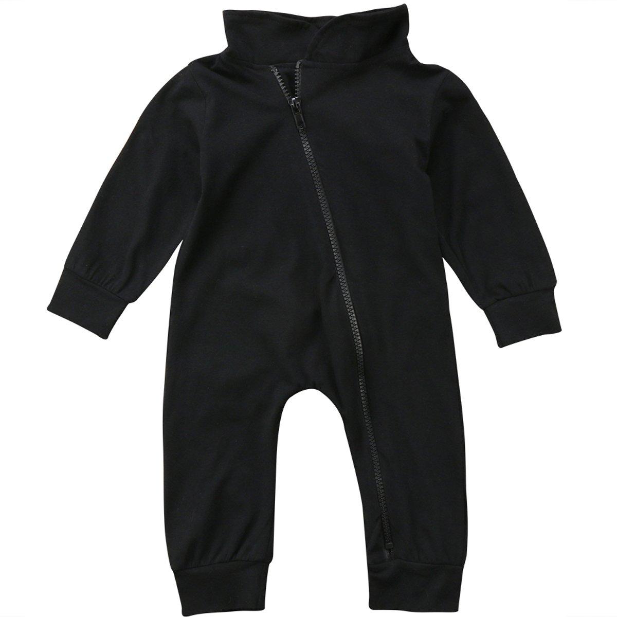 Annvivi Baby Boy Cotton Bodysuit Turtleneck Zipper Romper Long-Sleeve Jumpsuits
