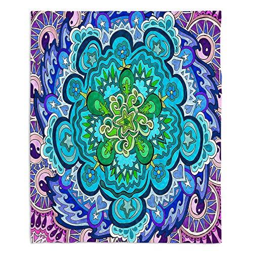 "Dia Noche Fleece Blankets Soft Fuzzy 4 Sizes! by Rachel Brown Mystic Mandala - Medium 60"" x 50"""