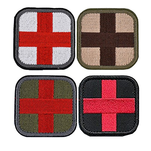 4 Pieces Red Cross Medic Tactical Patch Military Gear Morale Medical First Aid Patches- Olive White Green by Prohouse by Prohouse